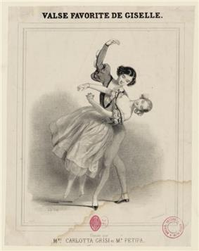 Sketch on the title page of a music sheet called Valse Favorite de Giselle. The sketch is of a pair of dancers, the male partially dipping the female in his left arm.
