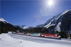 The Glacier Express train in the Albula Valley.