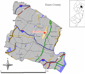 Map of Glen Ridge in Essex County. Inset: Essex County highlighted in the State of New Jersey.