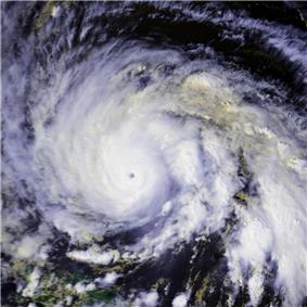 A view of Hurricane Gloria from Space on September 25. The intense storm features a small eye and large convective bands.