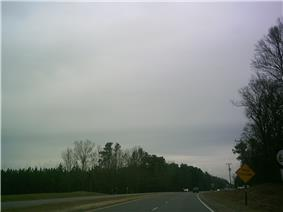 Cloudy sky and trees, photographed from a road