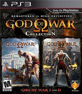 A video game cover showing text 'God of War' in golden, stylized lettering with the Greek letter Omega central on a dark background. Below are two smaller images showing a white-skinned man against a background of ancient Grecian buildings.