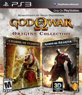 A video game cover showing text 'God of War' in golden, stylized lettering with the Greek letter Omega central on a light gray background. Below are two smaller images showing a white-skinned man with red markings and clothing against a background of stone and fire.