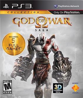 A video game cover showing text 'God of War' in golden, stylized lettering with the Greek letter Omega central, and the word 'Saga' in black text overlaid on an image of a man with white skin with red markings, wearing red clothing over his loin, against a white sky with lightning.
