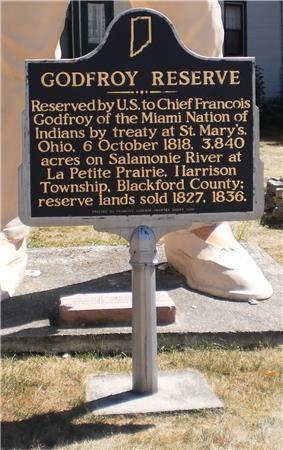 Historic marker for Godfroy Reserve
