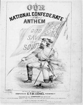 Soldier down on one knee, holding  the Confederate flag in one hand and a sword in the other