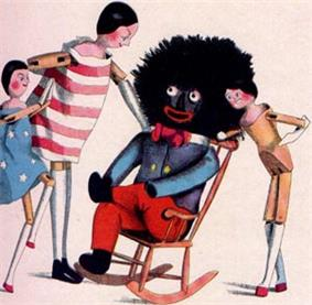 A drawing depicting  a rag doll with a big, black head, sitting in a rocking chair, with three white children standing by.