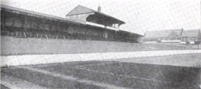 Black and white photograph of Goodison Road stand taken in 1900s