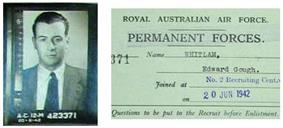 a folder showing a head-and-shoulders photo of Whitlam as a young man, with an identification paper