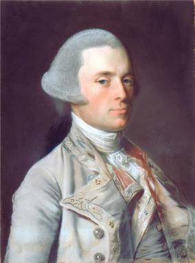 A half length portrait of John Wentworth. He faces right but looks toward the painter. He wears a powdered wig and fashionable mid-18th century clothing.