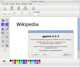 GNU Paint v0.3.3 running on Ubuntu