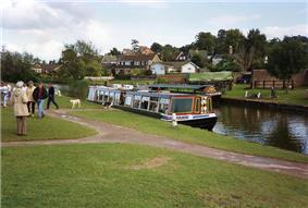 A narrow boat moored alongside grassy area. Houses can be seen in the background.