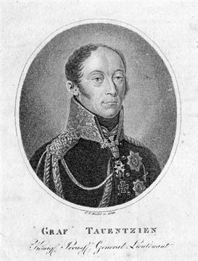 Black-and-white portrait of a hatless Bogislav Friedrich Emmanuel von Tauentzien in a full dress military uniform
