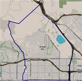 Boundaries of Granada Hills as drawn by the Los Angeles Times