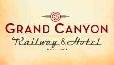 Logo for the Grand Canyon Railway with the copyrighted G and the words