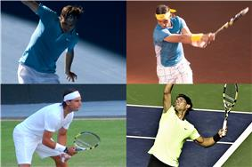 Grand Slam men's singles champions of 2010: Australian Open champion Roger Federer (top left), and French Open, Wimbledon and US Open triple winner Rafael Nadal (top right, bottom left and right).