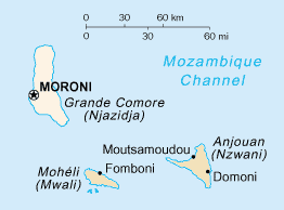 The Comoros islands. Grande Comore is the westernmost (and largest) island.