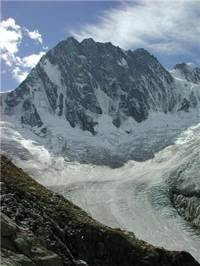 North face of the Grandes Jorasses and the Leschaux Glacier