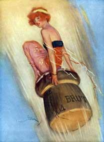 Illustration showing an old poster for champagne.  It depicts a young woman with short hair, like a pin-up girl, propelled into the air by the outpouring of wine on a champagne cork.  This is an advertisement for champagne from 1915.