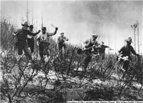 Volunteer firemen in action during the July 4th-6th 1929 fire on Mt. Tamalpais.