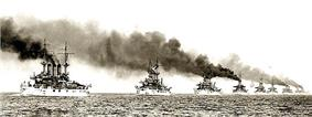 Photograph of the U.S. fleet of battleships sailing in line during the world tour known as the Great White Fleet