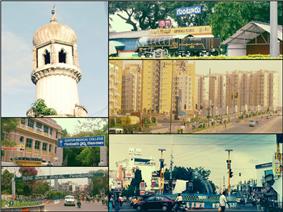 Clockwise from Top Left: Jinna Tower Center, Guntur Railway Station, Rain Tree Park, Guntur Medical College, Greater Guntur Municipal Corporation, Lodge Center