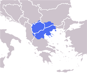Macedonia shown in blue. The modern region of Macedonia is divided by the national boundaries of Greece (Greek Macedonia), the Republic of Macedonia, Bulgaria (Blagoevgrad Province), Albania (Mala Prespa and Golo Brdo), Serbia (Prohor Pčinjski), and Kosovo (Gora).