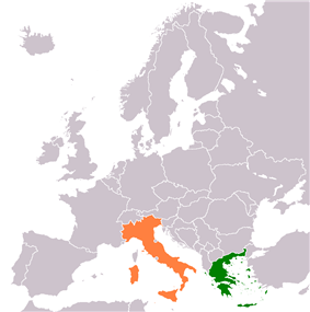 Map indicating locations of Greece and Italy
