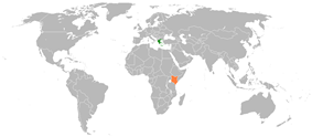 Map indicating locations of Greece and Kenya