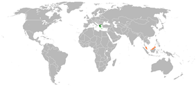 Map indicating locations of Greece and Malaysia