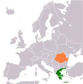 Map indicating locations of Greece and Romania