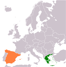 Map indicating locations of Greece and Spain