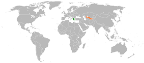 Map indicating locations of Greece and Uzbekistan