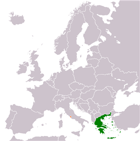 Map indicating locations of Greece and Vatican City