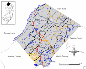 Map of Green Township in Sussex County. Inset: Location of Sussex County highlighted in the State of New Jersey.