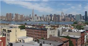 Aerial picture of Greenpoint's East River waterfront, with Manhattan in background