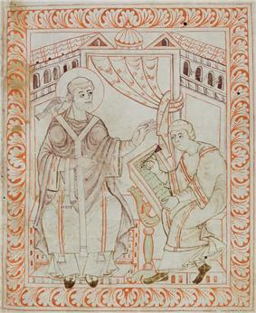 Manuscript drawing of a seated haloed figure in vestments, with a bird on his right shoulder, talking to a seated scribe writing.