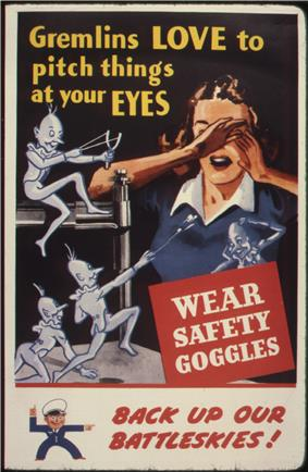Gremlins tossing items at a woman without goggles operating a metal punch.