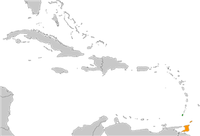 Map indicating locations of Grenada and Trinidad and Tobago