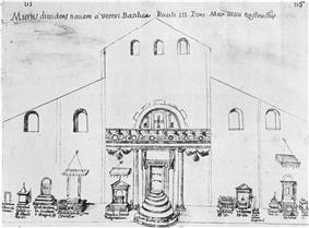 A drawing of the interior of St. Peters