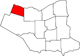 Location of Grimsby within the Regional Municipality of Niagara