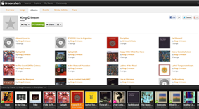 The interface of Grooveshark (on 17 July 2012).  The interfaces's tabs have these titles: overview, songs, albums (active), events, similar artists, fans; the albums tab is active. There are links to three social-media applications: Facebook, Tweet, and Google.  The following songs—formatted as