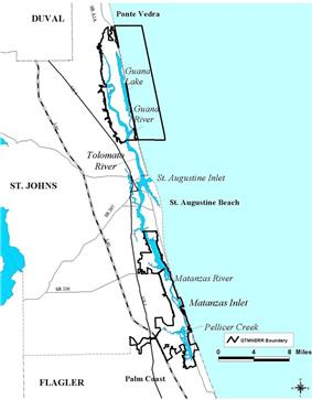 Map showing the location of Guana Tolomato Matanzas National Estuarine Research Reserve
