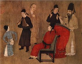A small section of a larger painting of a party. In the center, a man in red robes is seated in a chair. In front of him is a small female dancer, a male musician dressed in black, and a guest. Behind the chair is a second guest and a man in brown robes hitting a man sized drum with drumsticks.