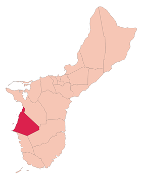 Location of Agat within the Territory of Guam.
