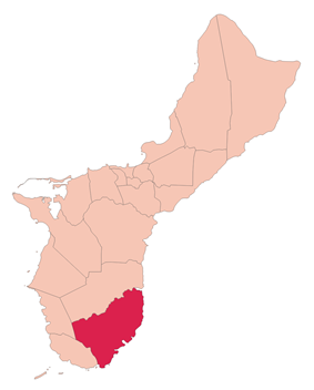 Location of Inarajan within the Territory of Guam.