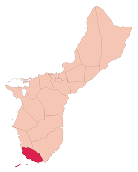 Location of Merizo within the Territory of Guam.