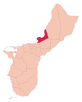 Location of Tamuning within the Territory of Guam.