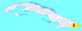 Guantánamo municipality (red) within  Guantánamo Province (yellow) and Cuba