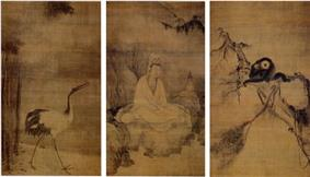 Triptych with a crane on the left, a cross-legged seated deity in the middle and a pair of monkeys on a tree branch on the right.